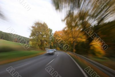Traveling at full speed on a country road
