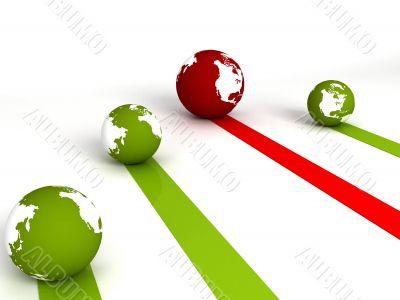 profit and loss globes