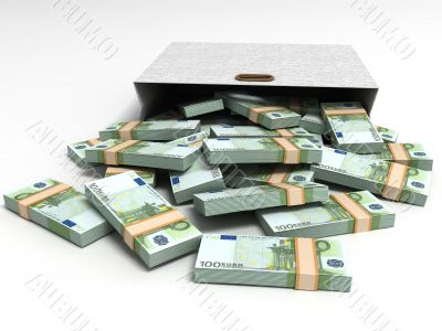 euro currencies with grey packet