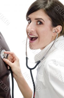 posing smiling lady with stethoscope