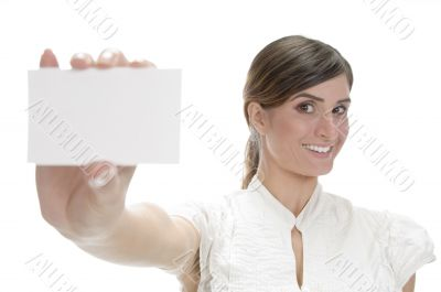 smiling lady showing visiting card