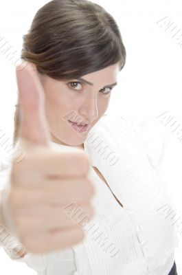 smiling lady showing approval sign