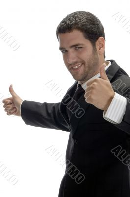 happy businessman wishing good luck