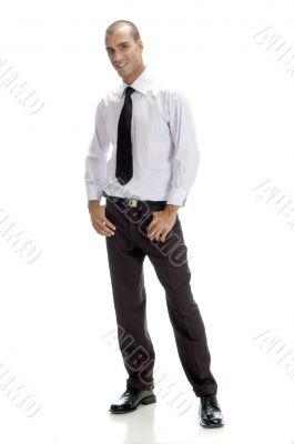 full pose of handsome businessman