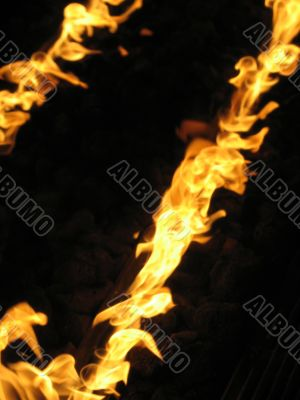 indoor orange fire flames
