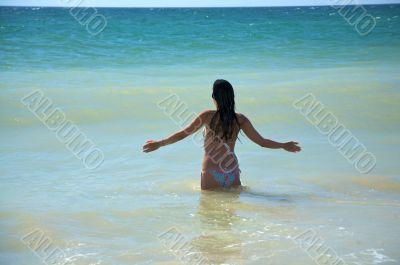 woman bathing in the ocean
