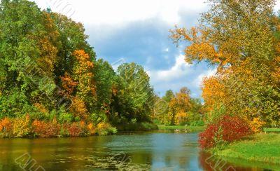Intensive colors of autumn landscape