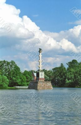 Classical column in water of the lake