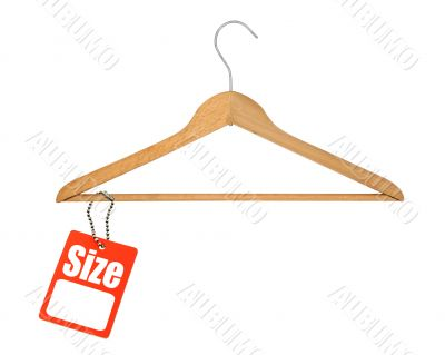 coat hanger and size tag