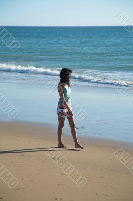 walking barefoot at the beach