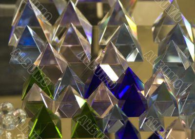 transparent glass pyramids