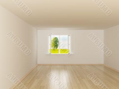 Empty room. Landscape behind the open window. 3D image