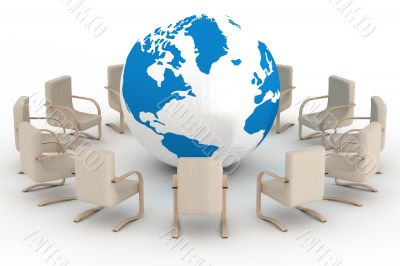 Twelve leather armchairs round globe. 3D image.