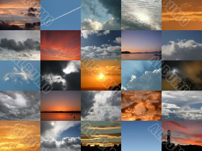 Digital Composite With 25 Pictures Of The Sky