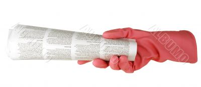 hand is in a pink glove holds the newspaper