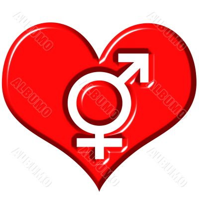 3d heart with combined gender signs