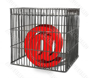 At sign trapped in a cage