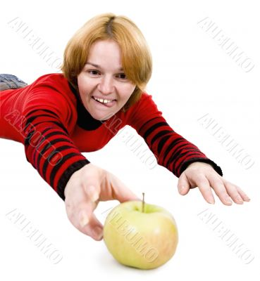 Woman giving a hand to apple