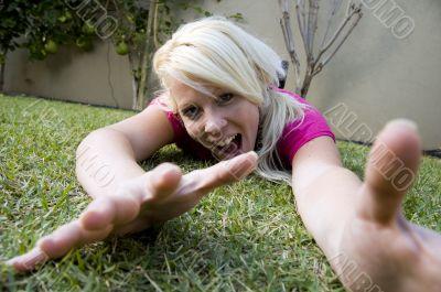 cheerful female having fun in the garden
