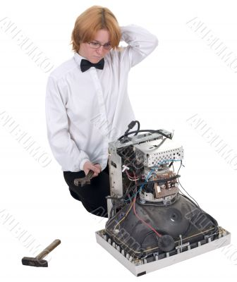 Girl repairing electronic equipment