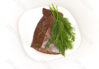 beef liver with dill on white plate