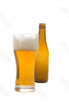 Glass and bottle of beer