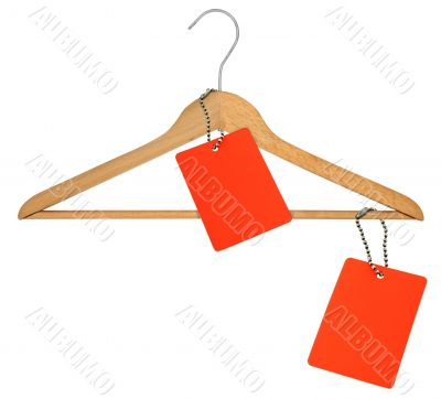 coat hanger and two blank price tags