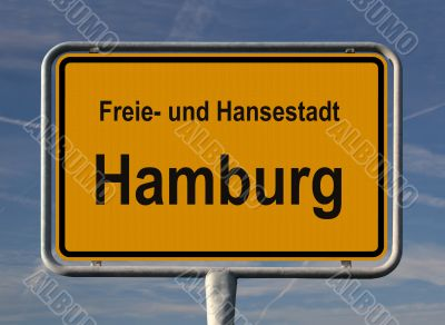 General city entry sign of Hamburg