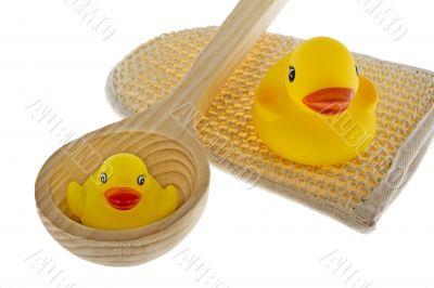 rubber duck with utensils sauna