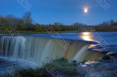 Full Moon Over Waterfall