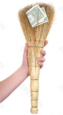 Dirty broom with dollar