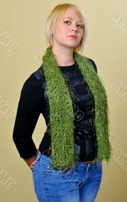 Frontal shot of blonde woman posing with scarf