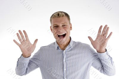 shouting man showing his palms