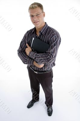 full body pose of business executive