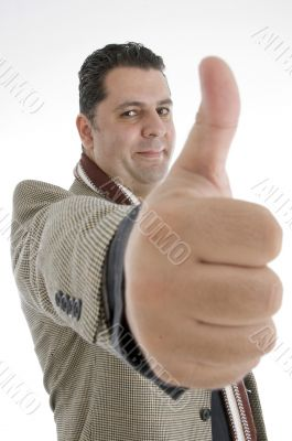 man showing approval sign