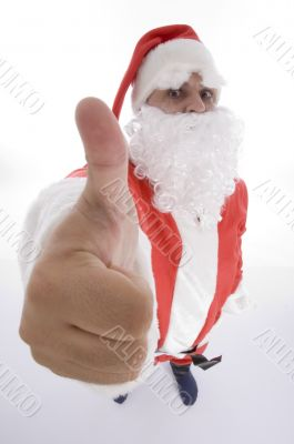 santa clause showing thumb gesture
