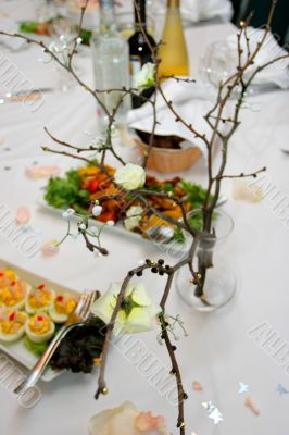 wedding table with snack