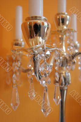 candles on a golden candleholder