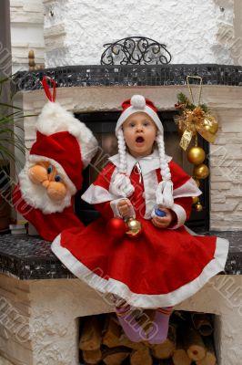 Surprised Christmas Santa Child