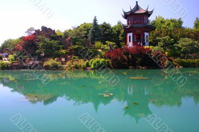 Japanese garden in botanical garden in Montreal