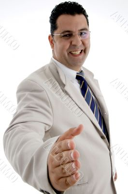 happy businessman offering hand shake
