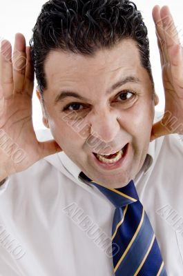 businessman making funny face