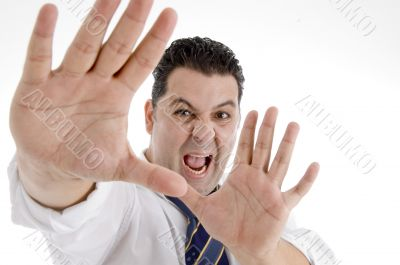 shouting businessman showing his palms