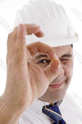 architect showing ok gesture