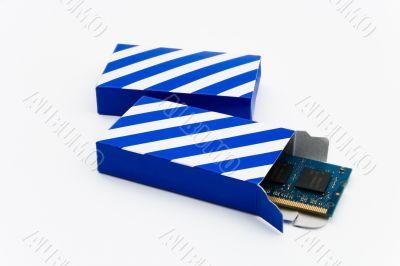 RAM in a striped box