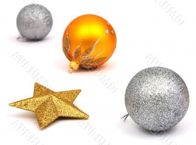 New-Year tree decorations on white