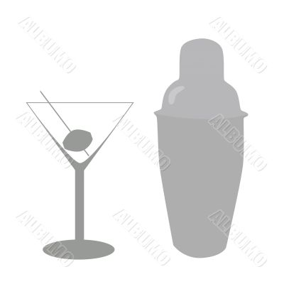 Cocktail glass and mixer