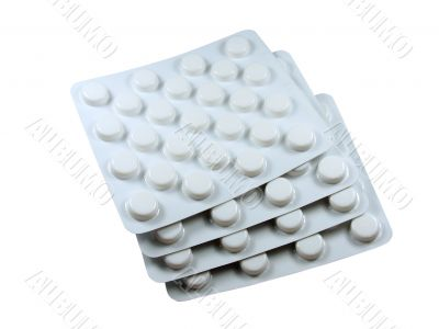 Pharmaceutical medical drugs isolated over white background