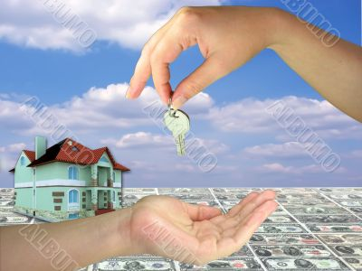 Lady hands giving key on 3d house money and blue sky background