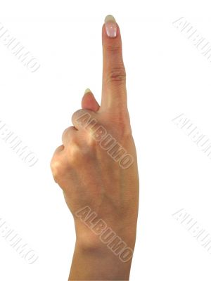 Human lady hand showing one finger isolated over white background